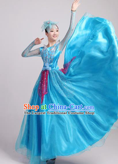 Chinese Traditional Spring Festival Gala Opening Dance Blue Veil Dress Modern Dance Costume for Women