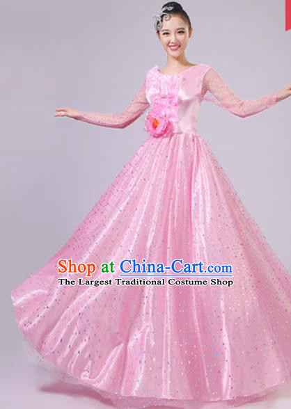Chinese Traditional Spring Festival Gala Pink Dress Opening Dance Modern Dance Costume for Women