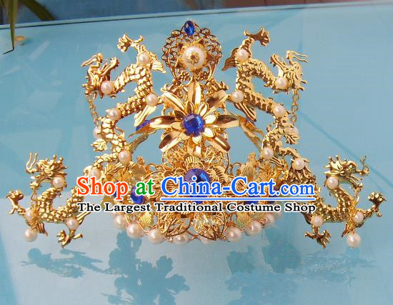 Chinese Traditional Goddess Hair Accessories Ancient Blue Crystal Phoenix Coronet for Women