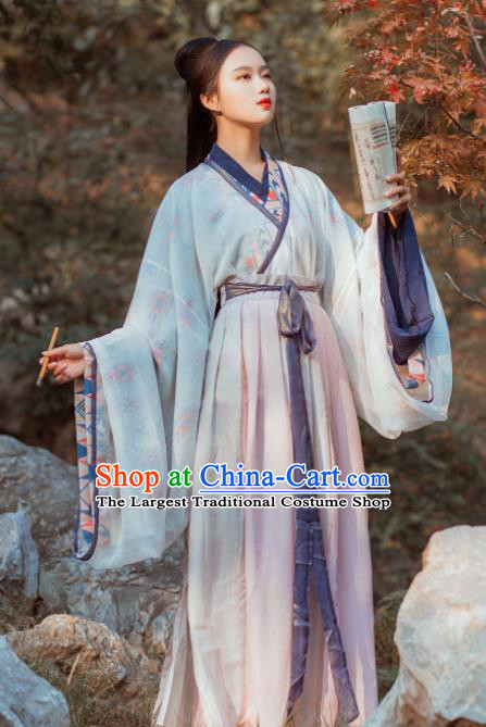 Chinese Traditional Hanfu Dress Ancient Jin Dynasty Palace Princess Embroidered Costume for Women