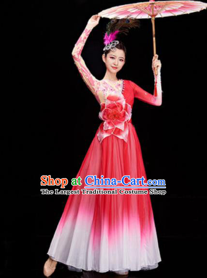 Chinese Traditional Spring Festival Gala Rosy Dress Opening Dance Modern Dance Costume for Women