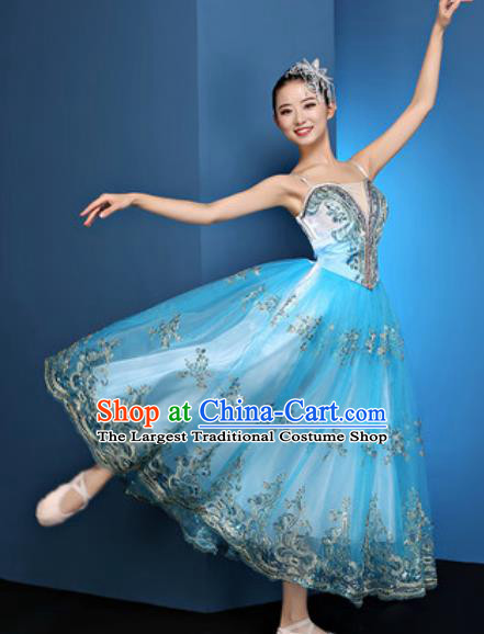 Chinese Traditional Spring Festival Gala Blue Veil Dress Opening Dance Modern Dance Costume for Women