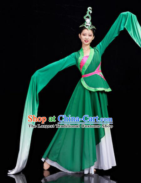 Chinese National Classical Dance Water Sleeve Dress Traditional Lotus Dance Umbrella Dance Green Costume for Women