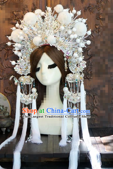 Chinese Traditional Handmade Hair Accessories Ancient Queen Luxury White Venonat Phoenix Coronet Headwear for Women