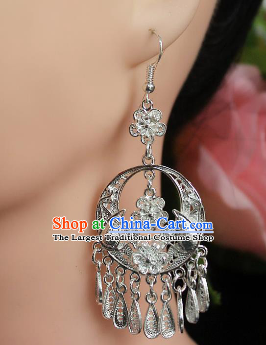 Traditional Chinese Miao Nationality Sliver Ear Accessories Hmong Wedding Tassel Earrings for Women