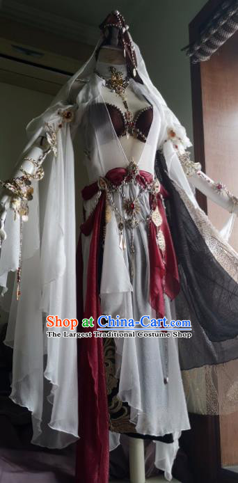 Chinese Traditional Cosplay Female Knight Costume Ancient Swordswoman White Dress for Women