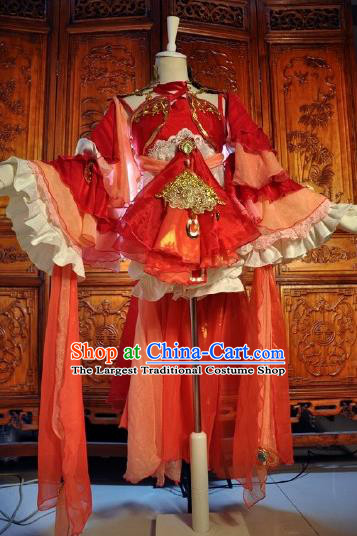 Chinese Traditional Cosplay Heroine Costume Ancient Swordswoman Female Knight Red Dress for Women