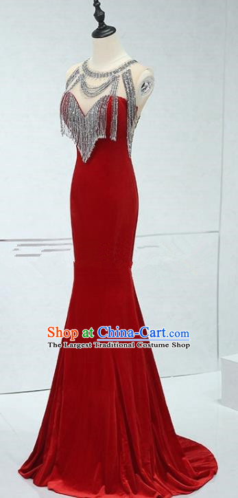 Professional Compere Sexy Red Full Dress Top Grade Modern Dance Stage Performance Costume for Women
