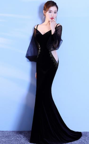 Top Grade Catwalks Black Trailing Evening Dress Compere Modern Fancywork Costume for Women