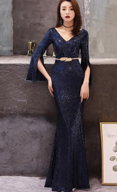 Top Grade Catwalks Royal Blue Paillette Evening Dress Compere Modern Fancywork Costume for Women