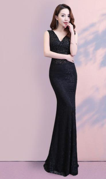 Top Grade Catwalks Black Paillette Trailing Evening Dress Compere Modern Fancywork Costume for Women