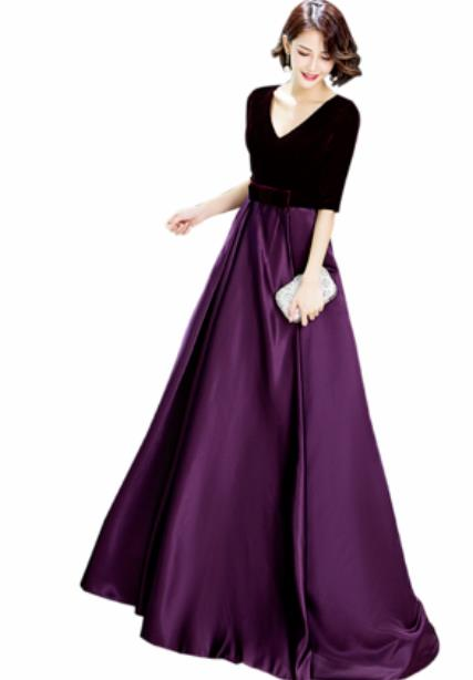 Top Grade Catwalks Purple Velvet Trailing Evening Dress Compere Modern Fancywork Costume for Women