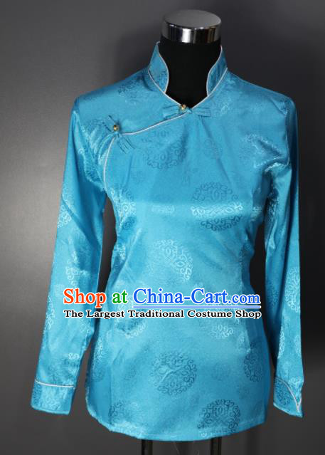 Chinese Traditional National Ethnic Tibetan Blue Blouse Zang Nationality Folk Dance Costume for Women