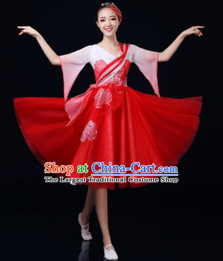 Traditional Chinese Spring Festival Gala Dance Red Dress Chorus Modern Dance Costume for Women