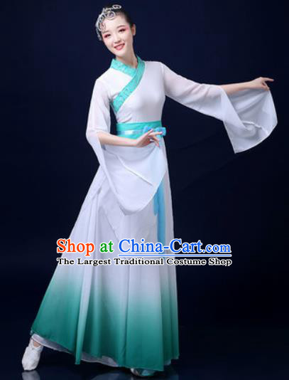 Traditional Chinese Classical Dance White Dress Umbrella Dance Stage Performance Fan Dance Costume for Women