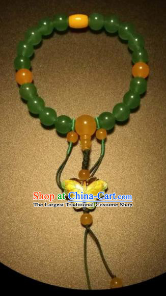Chinese Traditional Jade Beads Bracelet Handmade Hanfu Blueing Butterfly Bangles for Women