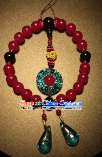 Chinese Traditional Carnelian Beads Bracelet Handmade Hanfu Bangles for Women