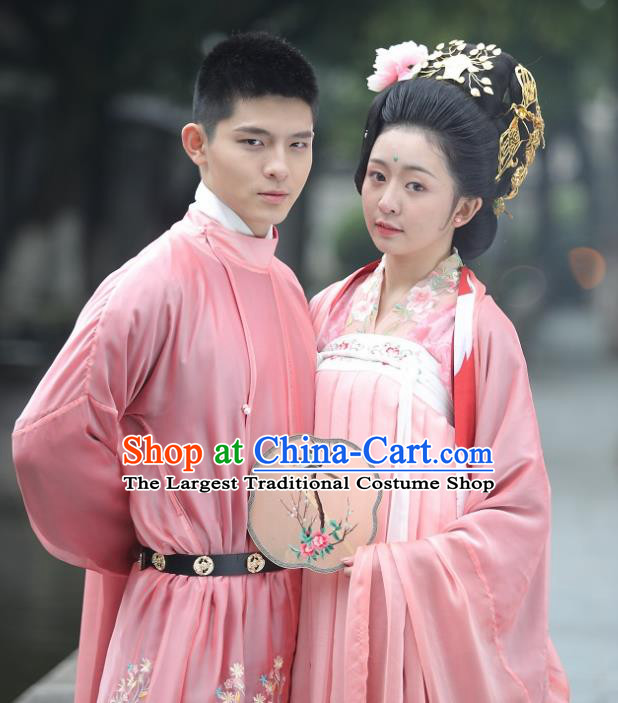 Traditional Chinese Tang Dynasty Historical Costumes Ancient Bride and Bridegroom Embroidered Clothing for Women for Men