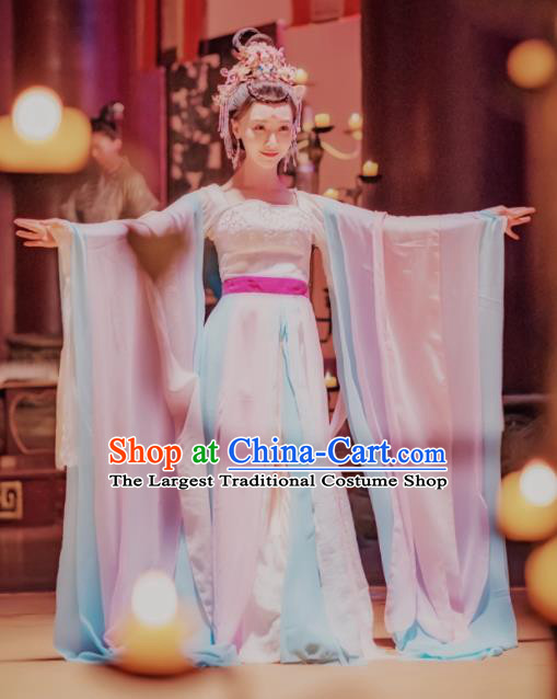Chinese Ancient Drama Imperial Consort Embroidered Replica Costume Tang Dynasty Palace Dancer Hanfu Dress and Headpiece for Women