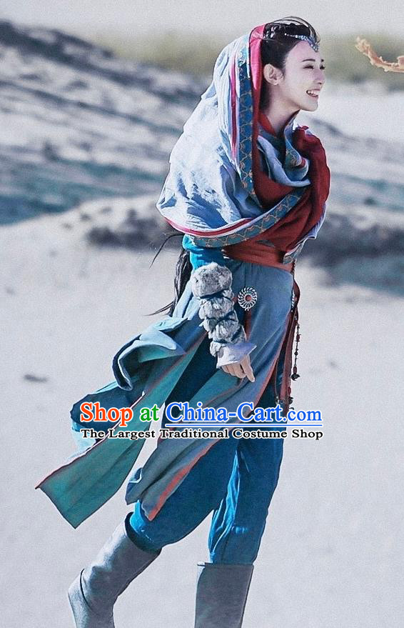 Chinese Ancient Drama Swordswoman Hanfu Dress Tang Dynasty Female Knight Embroidered Historical Costume for Women