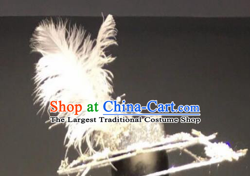 Top Grade Halloween Stage Performance Hair Accessories Brazilian Carnival White Feather Top Hat for Women