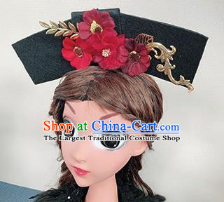 Traditional Chinese Qing Dynasty Princess Red Flowers Hair Accessories Handmade Ancient Hair Clasp for Women