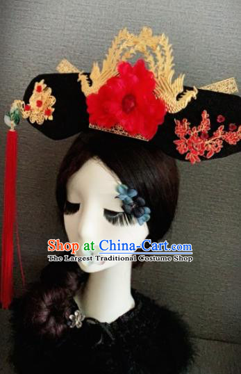 Traditional Chinese Ancient Palace Red Peony Hair Accessories Qing Dynasty Queen Headwear for Women