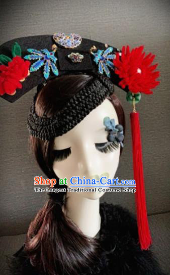 Traditional Chinese Ancient Palace Red Velvet Chrysanthemum Hair Accessories Qing Dynasty Queen Headwear for Women