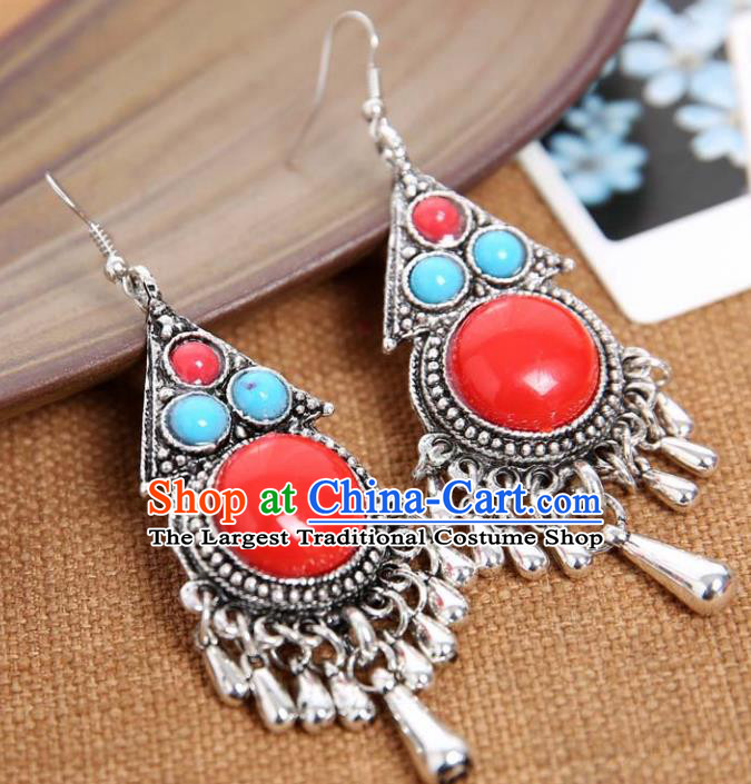 Top Grade Chinese Zang Nationality Red Earrings Traditional Ethnic Accessories for Women