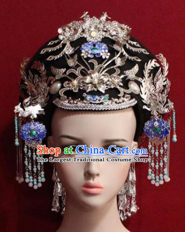 Chinese Ancient Empress Headwear Cloisonne Lotus Hat Traditional Qing Dynasty Queen Hair Accessories for Women