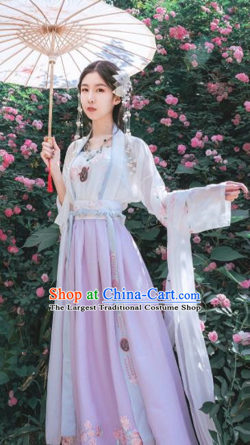 Chinese Traditional Tang Dynasty Court Maid Embroidered Hanfu Dress Ancient Peri Costume for Women