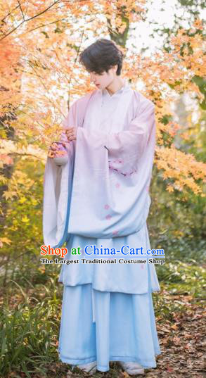 Chinese Traditional Ming Dynasty Nobility Childe Embroidered Hanfu Clothing Ancient Swordsman Costume for Men