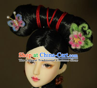 Chinese Ancient Court Maid Headwear Traditional Qing Dynasty Palace Manchu Imperial Consort Hair Accessories for Women