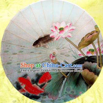 Chinese Ancient Oiled Paper Umbrella Traditional Handmade Printing Carp Lotus Umbrellas