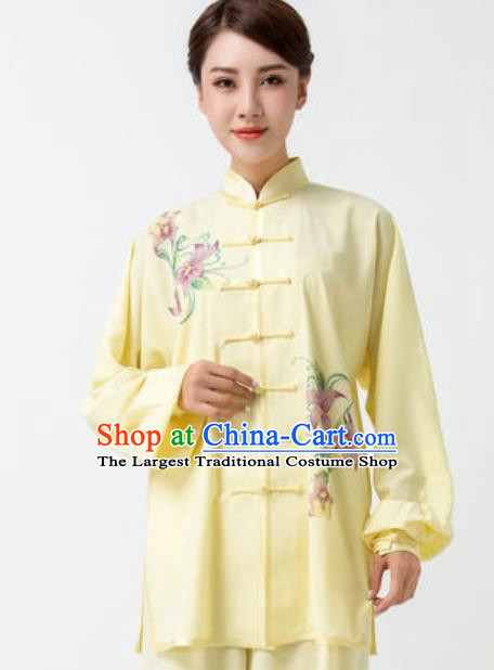Chinese Traditional Tai Chi Printing Yellow Costume Martial Arts Uniform Kung Fu Wushu Clothing for Women