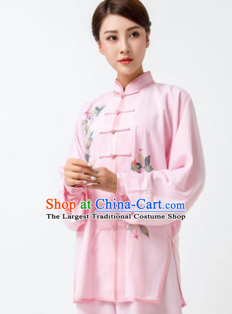 Chinese Traditional Tai Chi Printing Pink Costume Martial Arts Uniform Kung Fu Wushu Clothing for Women