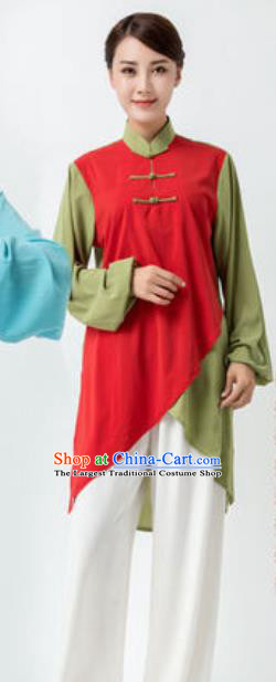 Chinese Traditional Tai Chi Red Costume Martial Arts Uniform Kung Fu Wushu Clothing for Women