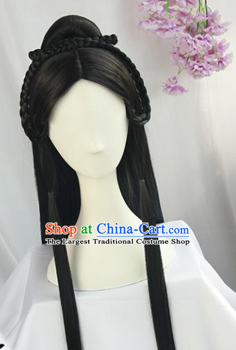 Handmade Chinese Traditional Hanfu Black Wigs Sheath Ancient Han Dynasty Imperial Consort Chignon for Women