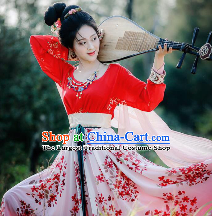 Traditional Chinese Ancient Dunhuang Flying Apsaras Hanfu Dress Tang Dynasty Princess Historical Costume for Women
