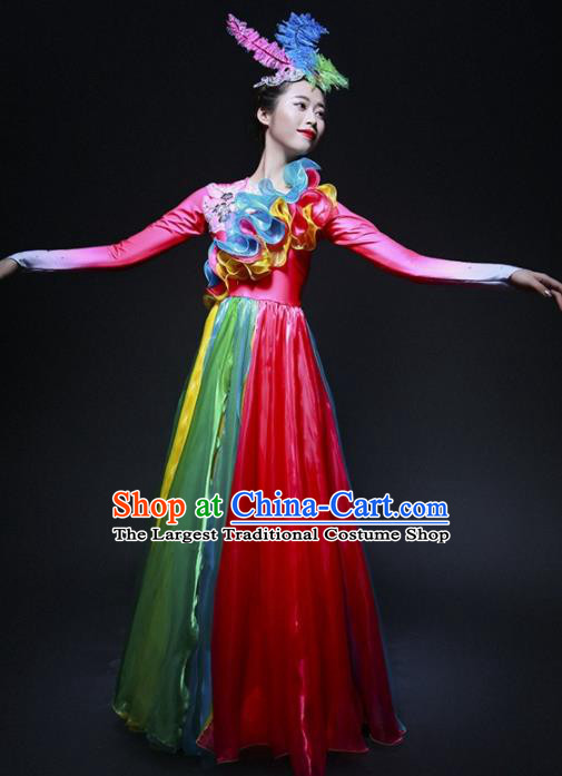 Chinese Spring Festival Gala Classical Dance Costume Traditional Modern Dance Rosy Dress for Women