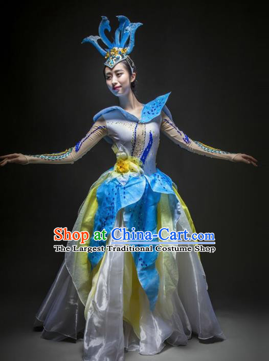 Chinese Modern Dance Stage Costume Traditional Opening Dance Blue Bubble Dress for Women