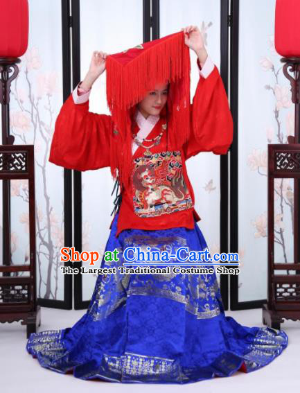 Traditional Chinese Ming Dynasty Bride Historical Costume Ancient Wedding Embroidered Dress for Women