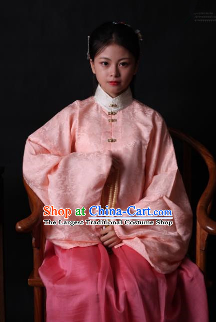 Traditional Chinese Ming Dynasty Palace Historical Costume Ancient Princess Embroidered Pink Blouse and Skirt for Women
