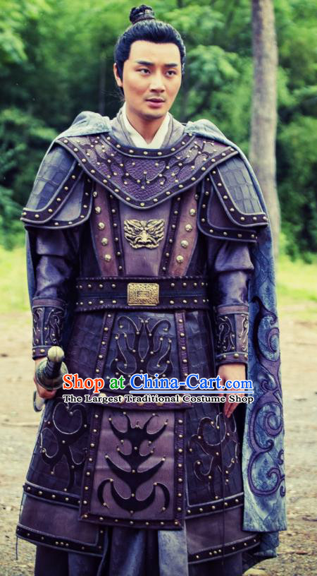 Chinese Ancient Yuan Dynasty General Armour Heavenly Sword Dragon Slaying Saber Swordsman Historical Costume for Men