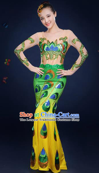 Traditional Chinese Minority Ethnic Green Dress Dai Nationality Dance Stage Performance Costume for Women