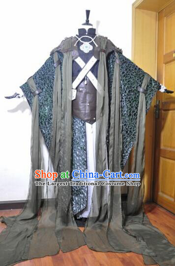 Traditional Chinese Cosplay Swordsman Hanfu Clothing Ancient King Taoist Priest Embroidered Costume for Men