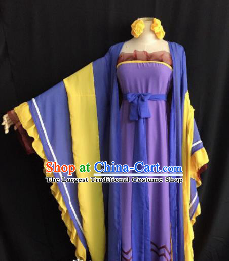Traditional Chinese Tang Dynasty Purple Hanfu Dress Ancient Princess Embroidered Costume for Women