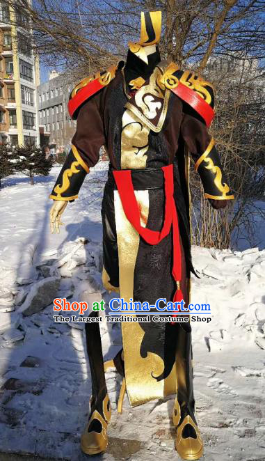 Traditional Chinese Cosplay Royal Highness Black Hanfu Clothing Ancient Swordsman Embroidered Costume for Men