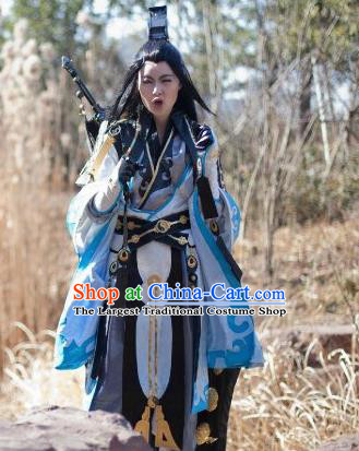 Traditional Chinese Cosplay Taoist Priest Clothing Ancient Swordsman Embroidered Costume for Men
