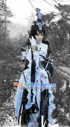 Traditional Chinese Cosplay Swordswoman Hanfu Dress Ancient Taoist Nun Embroidered Costume for Women